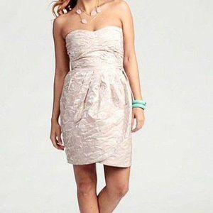 Max & Cleo Taffeta Jacquard Strapless Dress Size 6